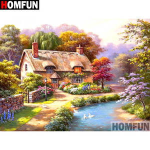 HOMFUN Full Drill Diamond Painting House landscape DIY Picture Of Rhinestone 5D Diamond Embroidery Cross Stitch Decor A11898