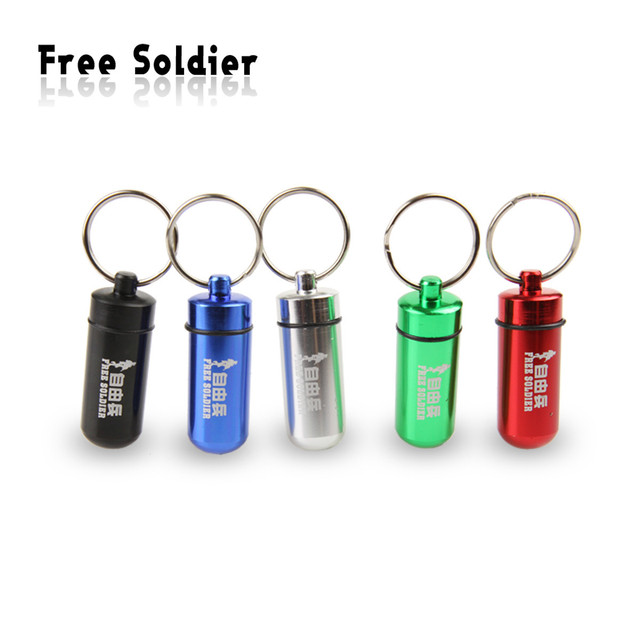 100pcs/lot Outdoor travel waterproof phial keychain first aid pill bottles treasures of the lifeboat small kit
