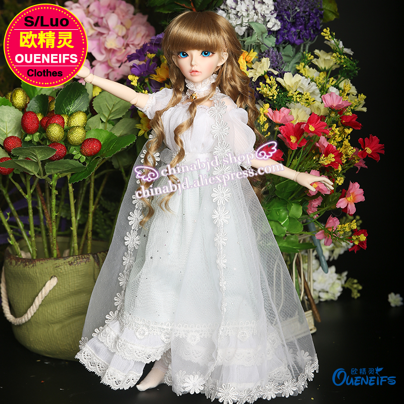OUENEIFS free shipping girl long dress Net yarn coat lace edge Accessories 1/4 bjd sd doll clothes no doll or wig YF4-64