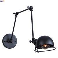 IWHD Black Iron metal Vintage Wall Lamp Loft Bedroom Mirror Stair Loft Style Retro Long Arm Wall Light Fixtures Aplique Pared