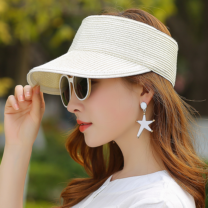 Outdoor Empty Top Hat Female Fashion Straw Hat Anti-Ultraviolet Large Cap Casual Sport Sunscreen Hat For Ladies