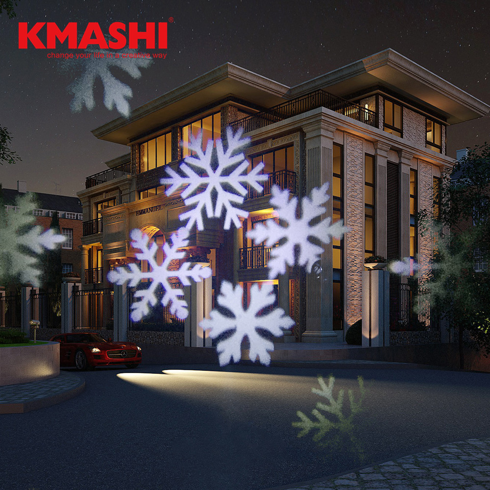 Kmashi Outdoor Snowflake LED Projection Light Garden Night Light Projector Party Wedding Christmas Decoration Landscape Lamp