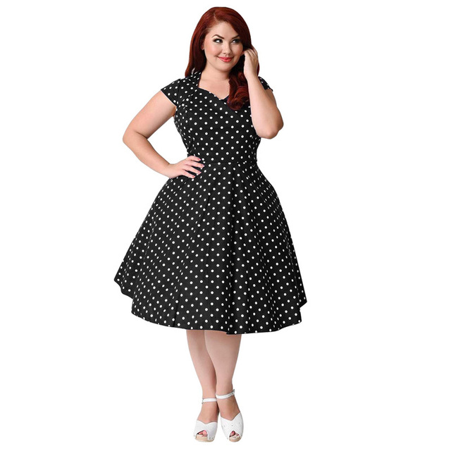 Plus Size Dresses For Womens 4xl 5xl 6xl Short Sleeve Polka Dot Vintage 50s 60s Casual