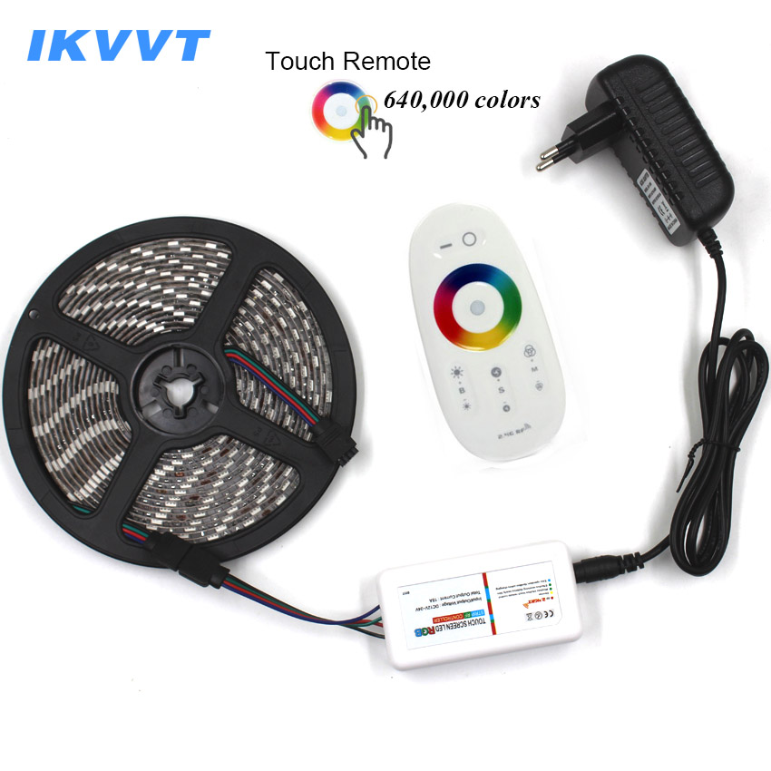 IKVVT DC12V 5050 rgb LED Strip Waterproof RGB Neon Light Flexible 5m LED Tape Ribbon +Touch Remote Controller +12V Power Supply 10m 5m 3528 5050 rgb led strip light non waterproof led light 10m flexible rgb diode led tape set remote control power adapter