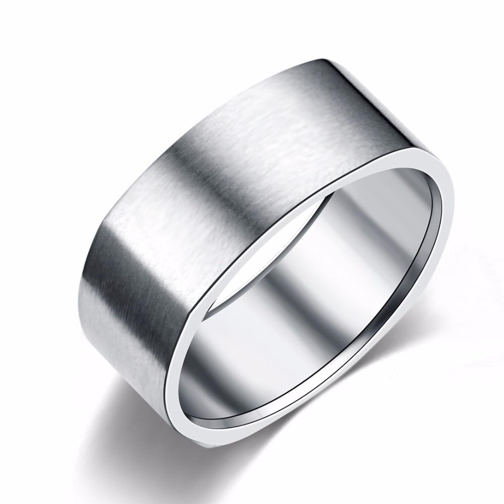 8mm Stainless Steel Ring Wedding Engagement Square Rings Women Men