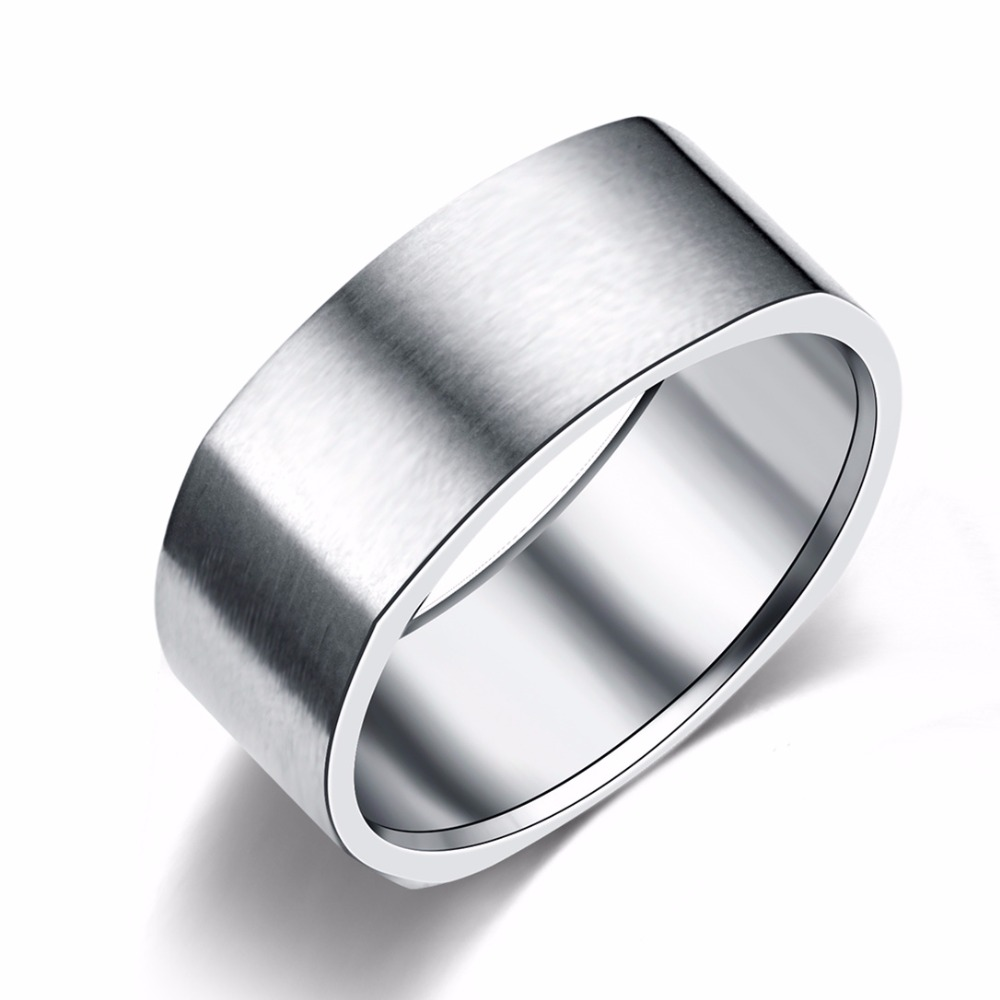 8mm Stainless Steel Ring Wedding Engagement Square Rings Women Men