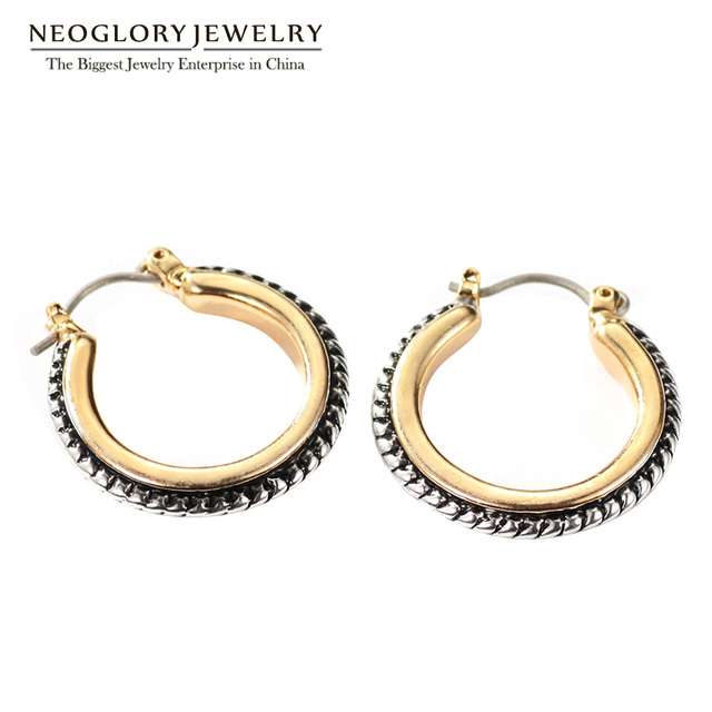 Neoglory Classic Vintage Round Hoop Earrings For Women Antique Punk Statement Jewelry Ears Circle Gold Plated New 2017 FA