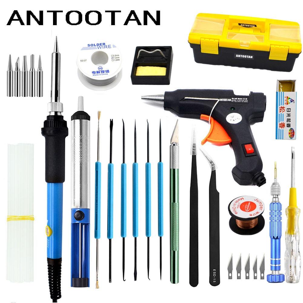 EU 220v 60w DIY Adjustable Temperature Soldering Iron Welding Kit Carving Knife Screwdriver Glue Gun Repair цена