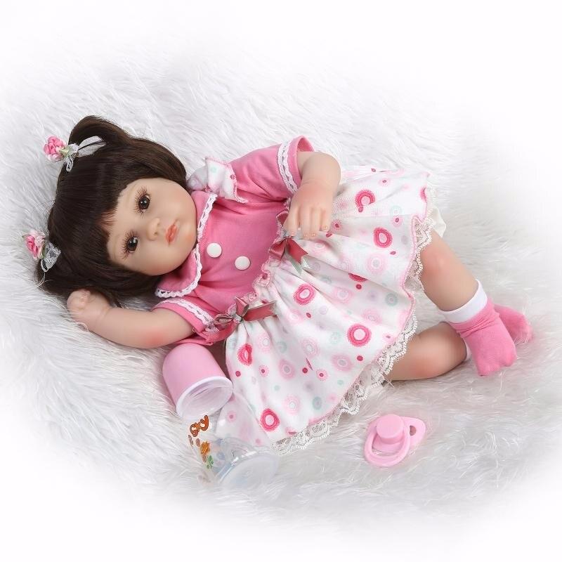 42 cm rose princesse Main bebe en vie Souple En Silicone Reborn bébé poupée Jouets Bébé lol d'origine mignon poupée enfants cadeaux collection - 3