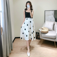 2019 new summer office lady stretch dot female women girls brand white thin skirts clothing
