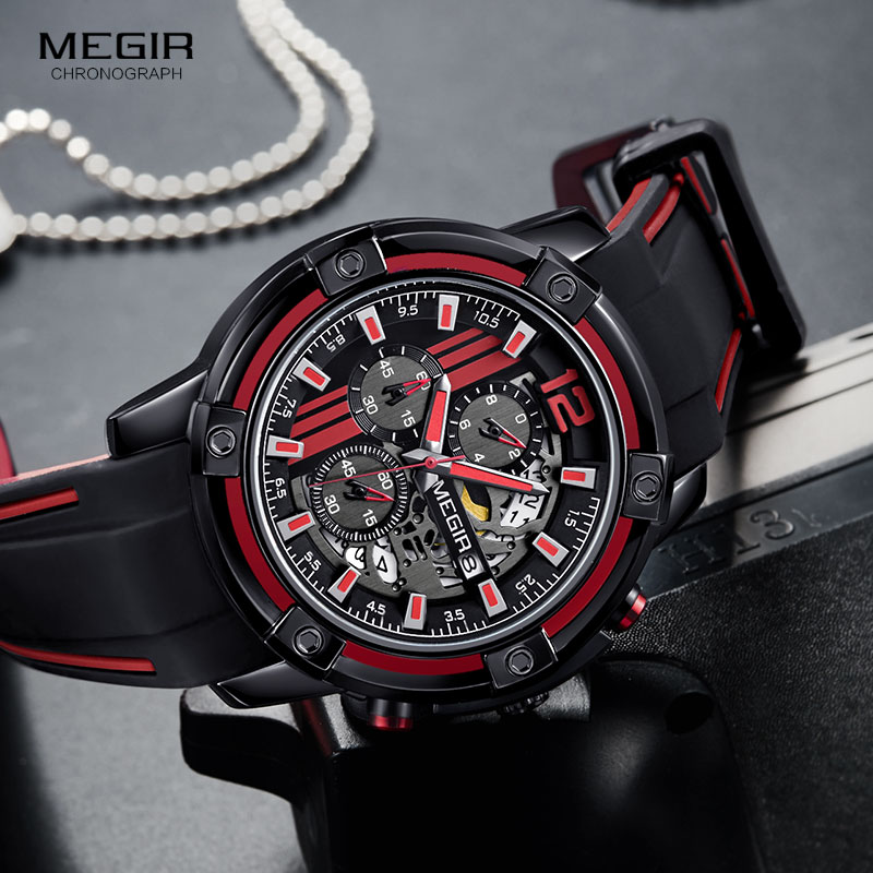 Image 4 - Megir Luxury Quartz Watches Men Silicone Military Sports Chronograph Stopwatch Man Wristwatch Top Brand Relogios 2097 Black Red-in Quartz Watches from Watches