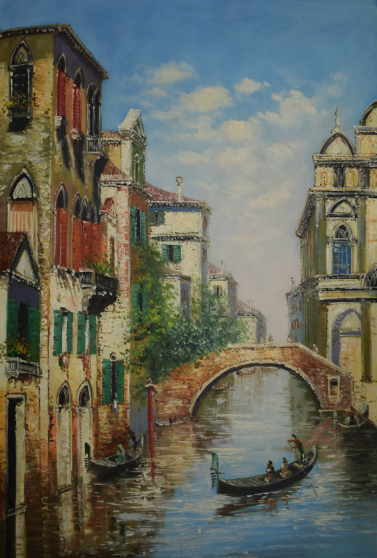 Hand Painted High Quality European Style Canvas Painting Water City Venice Oil Painting Wall Painting Picture for Living Room