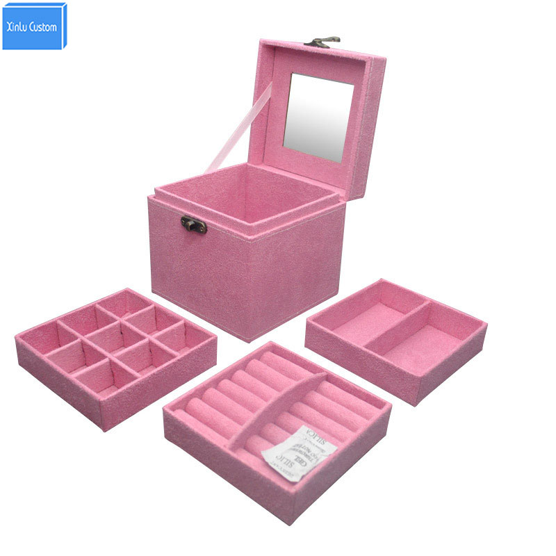 Women Bedroom Colorful Velvet Dressing Case Travel Case Cosmetic Container Mirror Watch/Jewelry Organizers Collect/Powder Box