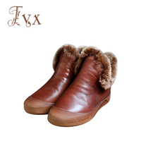 Tayunxing Handmade Shoes Genuine Leather Women Boots Wedges Slip On Cony Hair Insoles Comfort Low Heels
