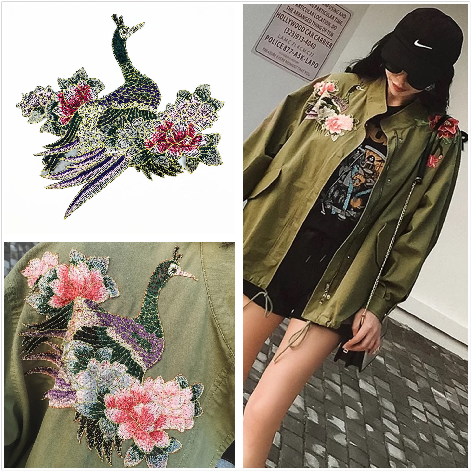 DIY Decoration Accessories 3d Flower Patches Embroidered Gold Phoenix Applique Flowers Good Quality Embroidery