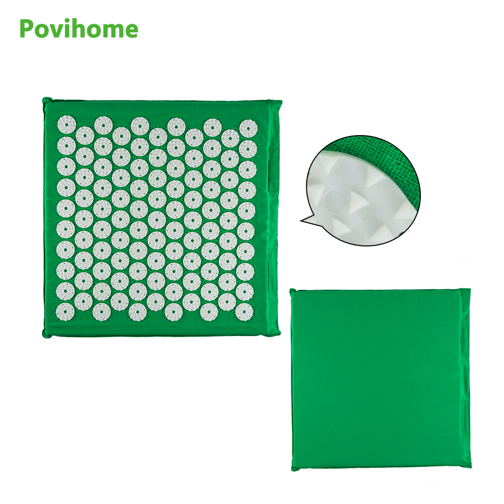 (Size 32*35cm) Povihome Massage Relaxation Cushion Acupressure Mat Relieve Stress Pain Acupuncture Spike Yoga Mat Green C1195 povihome 1set massage cushion acupressure therapy mat relieve stress pain relief acupuncture spike yoga mat with pillow d06874