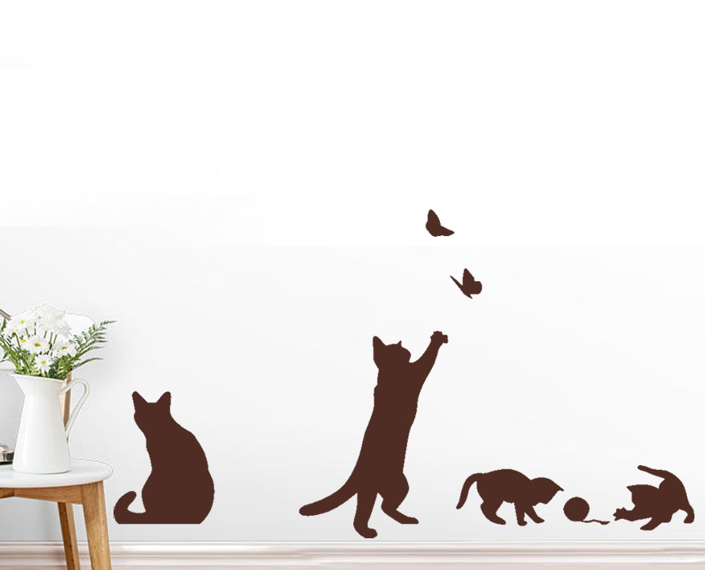 3 Colors PVC Removable Funny Cats Butterfly Art Decals