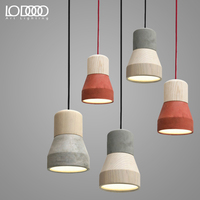 LODOOO Modern American Country Style Cement Pendant Light Dec E27 Droplight 3 Colors Wood Indoor Decoration