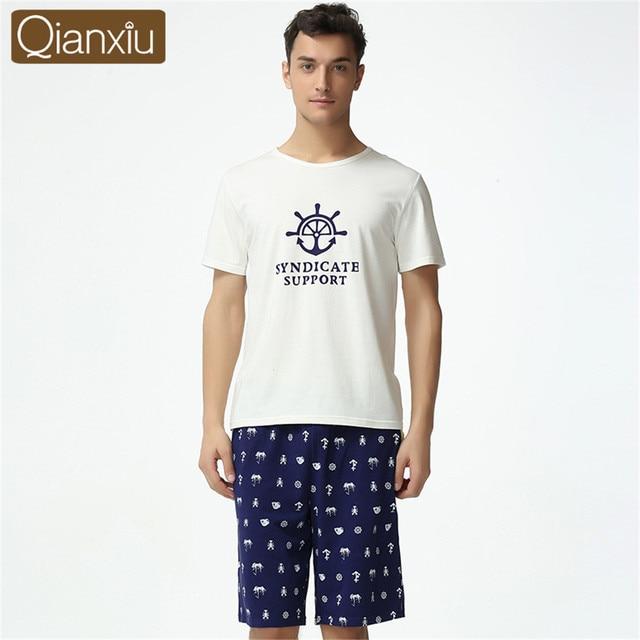 Qianxiu New Men s cotton Pajamas Summer pants erkek pijama masculinos Short  Sleeve Pyjamas Pjs Set Sleepwear Man Loungewear 131e5a392