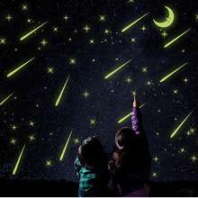 Meteor shower Wall Stickers Luminous stars home decal fluorescent Moon glow in the dark stars on the ceiling glass bedroom decor