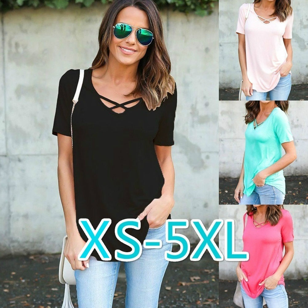2019 NEW Women's Casual Summer Short Sleeve V Neck Solid Color Loose Cotton Beach top T Shirt(China)