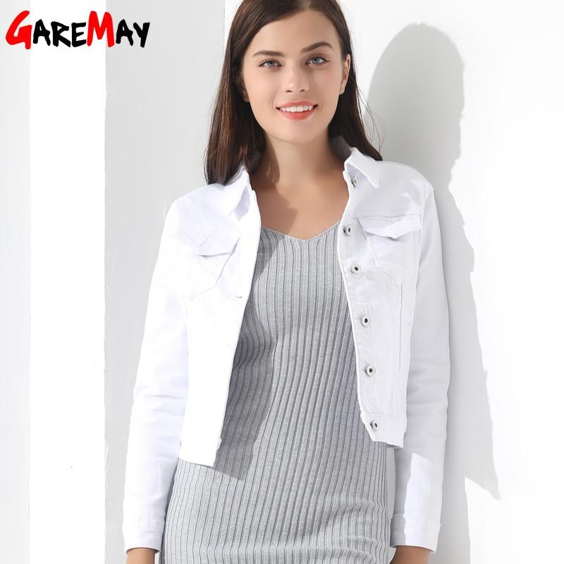 GAREMAY Basic Jeans Jacke Frauen White Spring Woman Denim Denim Damen - Damenbekleidung - Foto 3