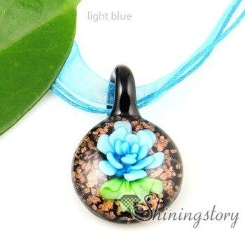 Collar de cristal murano de murano con purpurina de flores redondas joyería de moda barata joyería hecha a mano