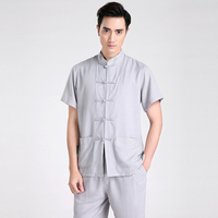 New Arrival Gray Chinese Men Kung Fu Shirt Cotton Linen Martial Arts Shirts Summer Tang Suit