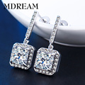 silver Plated earing Sqaure CZ diamond  fashion earrings Jewelry AAA zircon brincos wedding earings 2016 LSE033