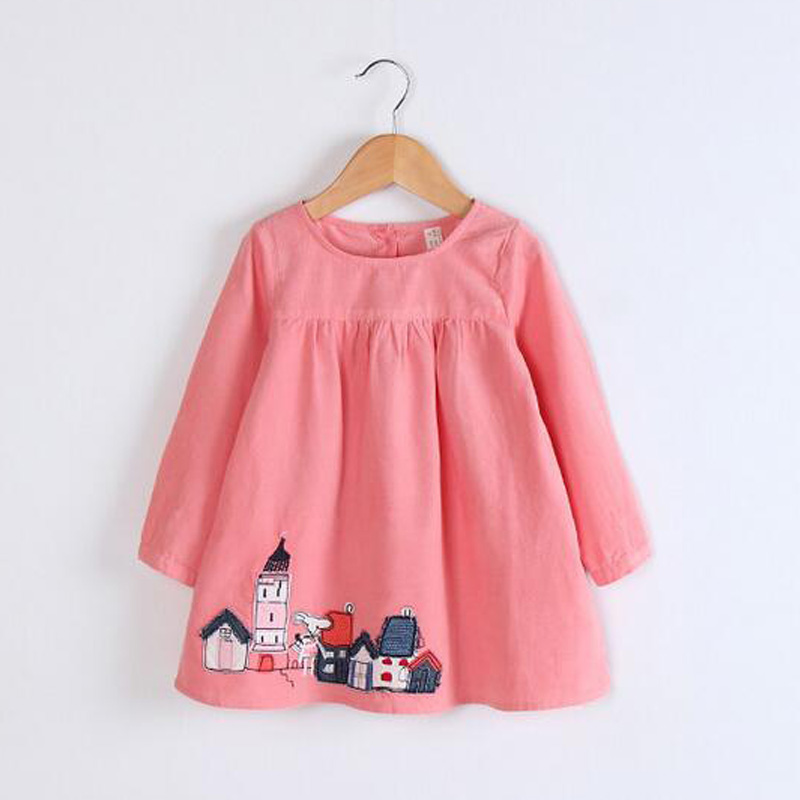 girls dresses 2017 autumn clothes children dresses long sleeved Kids Dresses For Girls Printed Princess