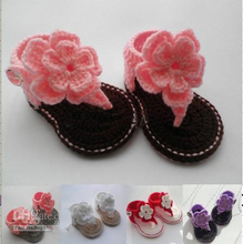 fashion Lovely flowers toddler shoes/Crochet baby sandals, baby sandals 0-12M customize