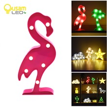 LED Night Light Moon Cloud Novelty 3D Lamp Flamingo Cactus Star Nightlight Angel Tree For Children Gift Wedding Decoration