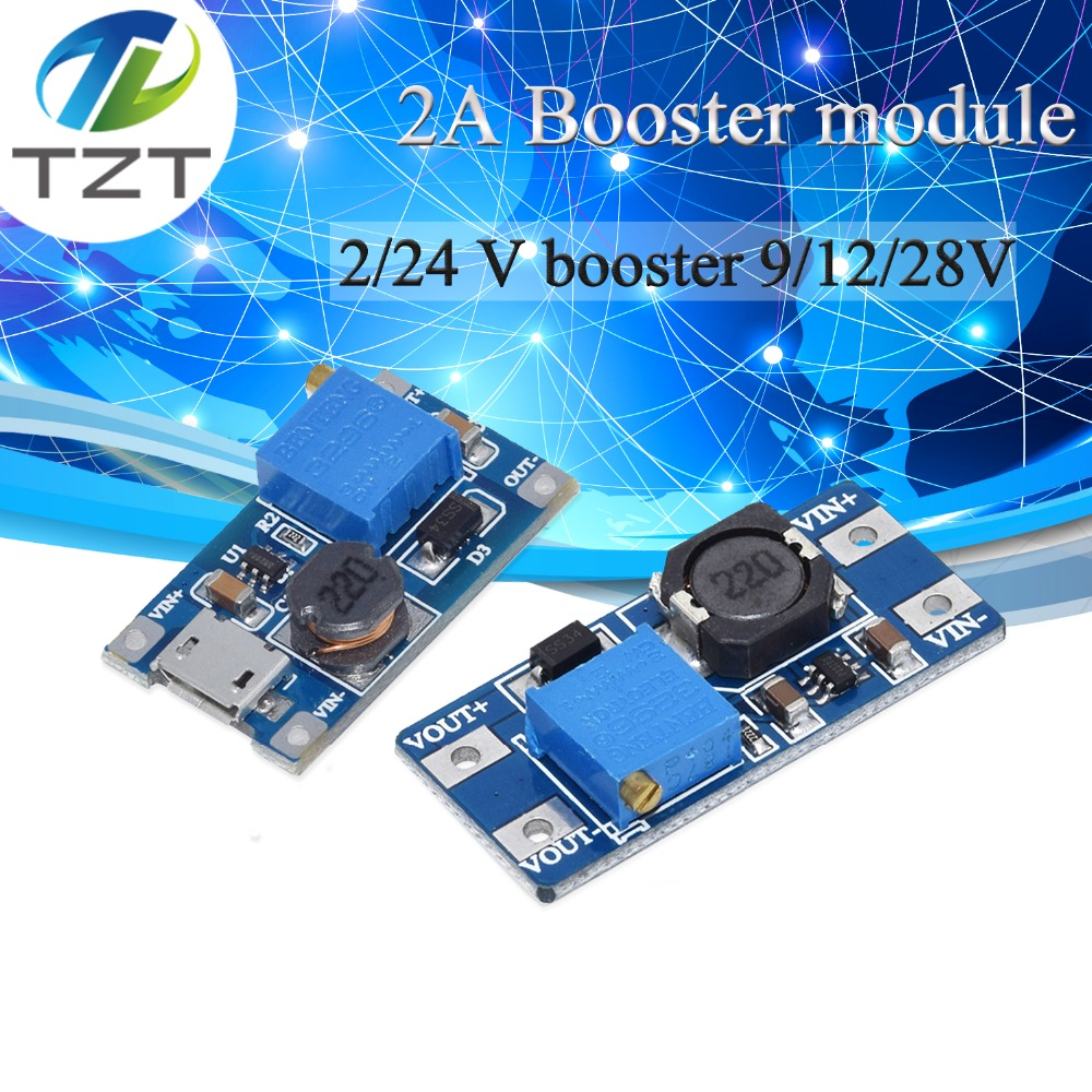 MT3608 DC-DC Adjustable Boost Module 2A Boost Plate Step Up Module With MICRO USB 2V-24V To 5V 9V 12V 28V