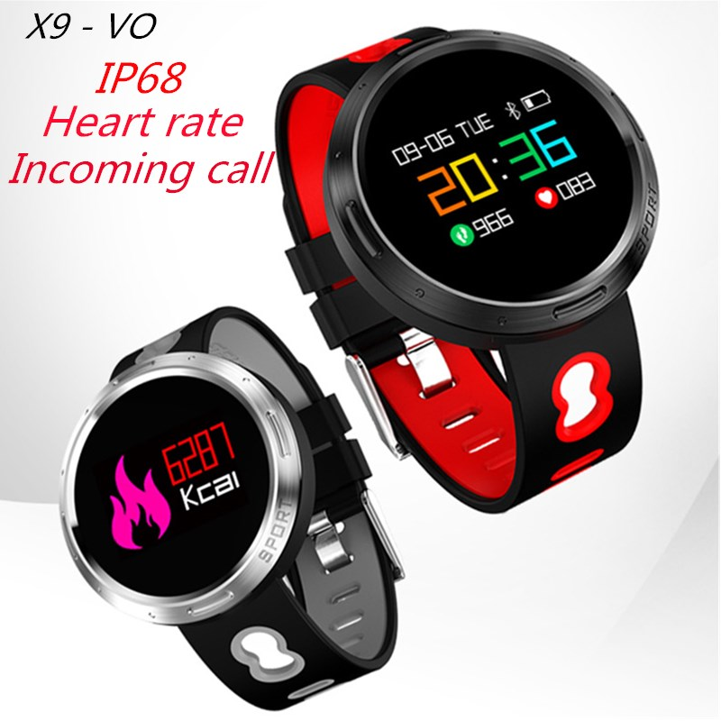 Original X9-VO IP68 Waterproof Bluetooth 4.0 Smart Wristband with Sleep Monitor Heart rate track Smart Bracelet for Android IOS professional heart rate sleep track smart wristband watch with colorful ui 831