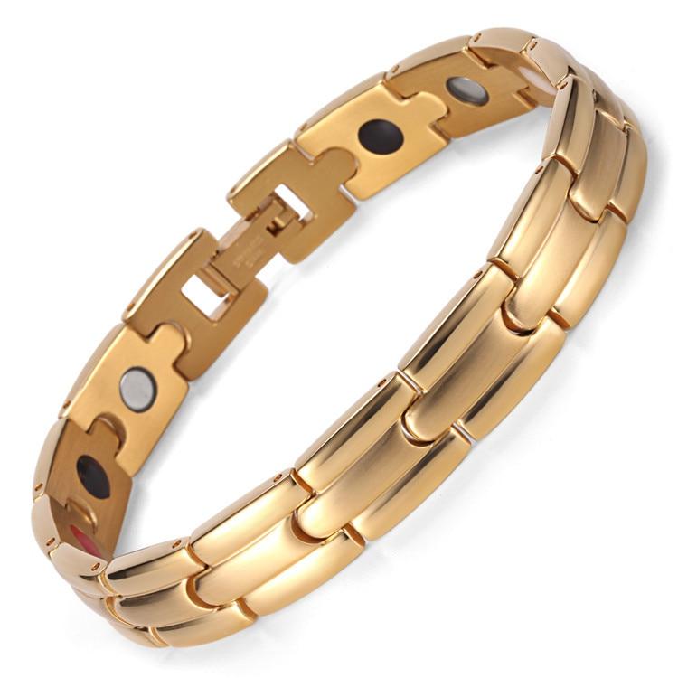 Stainless Steel IP Electroplating Gold Four-in-one Bracelet Magnet Germanium BraceletStainless Steel IP Electroplating Gold Four-in-one Bracelet Magnet Germanium Bracelet