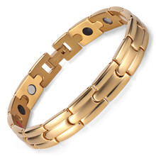 Stainless Steel IP Electroplating Gold Four-in-one Bracelet Magnet Germanium
