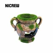 Nicrew ваза из смолы с Мохом, аквариумные украшения, фоновые украшения для аквариума, аксессуары для аквариума с креветками
