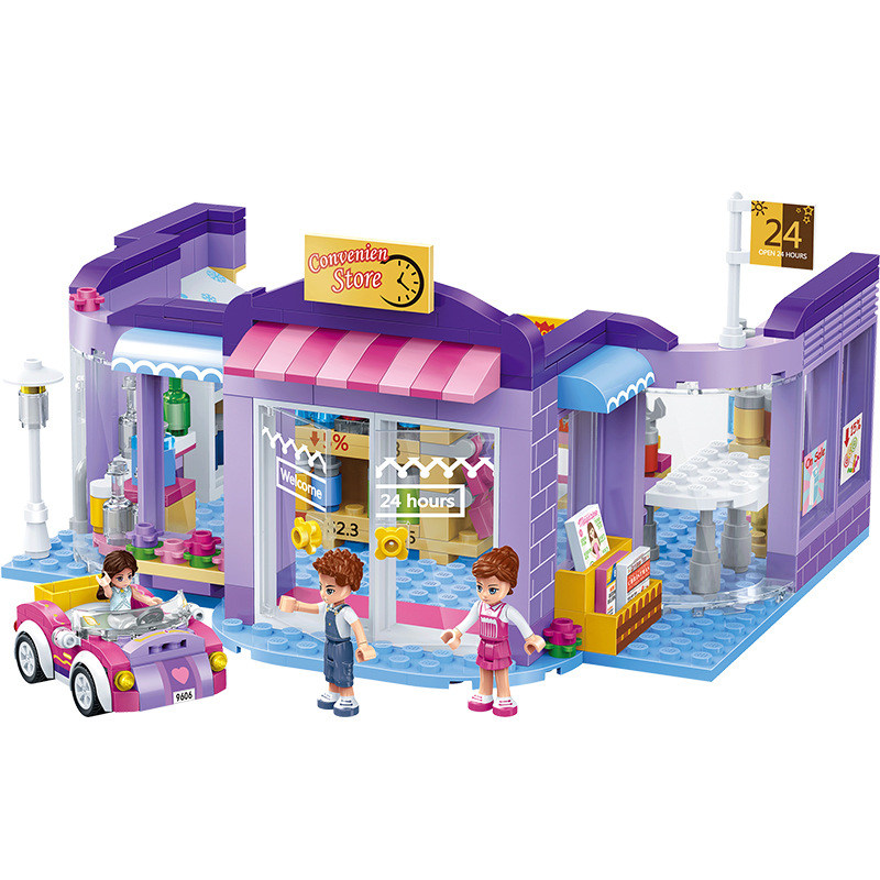 GUDI City Girls 24 hours Convenience Store Building Blocks Sets Bricks Classic Model Kids Gift Toys Compatible Legoings Friends