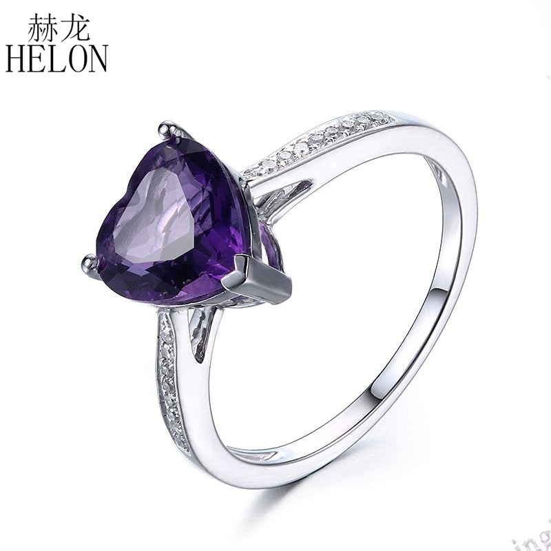 HELON Heart Shape Amethyst Diamond Engagement Wedding Gemstone Ring 10K White Gold Exquisite Women's Jewelry Fine Ring exquisite rhinestoned floral shape ring for women