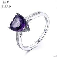 HELON Heart Shape Amethyst Diamond Engagement Wedding Gemstone Ring 10K White Gold Exquisite Women S Jewelry