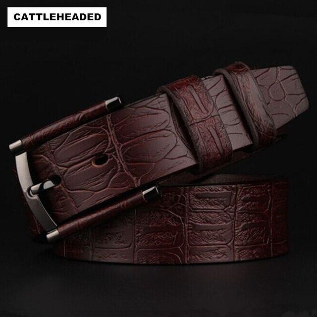 [CATTLEHEADED] 100% hombres de la correa de cuero de los hombres de cuero puro de alta calidad cinturones jeans cinturón de moda casual de negocios marca de La Correa
