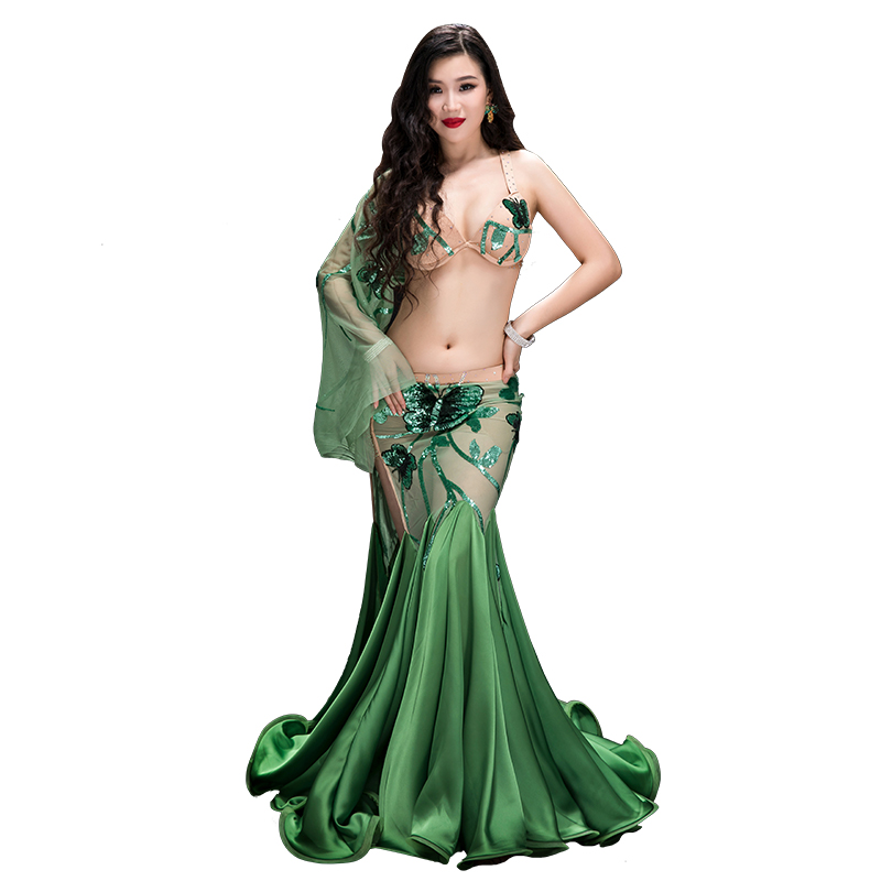 YC045 Belly Dancing Women Spandex And Silk Satin Belly Dance Costume Set Girls  Belly Dance