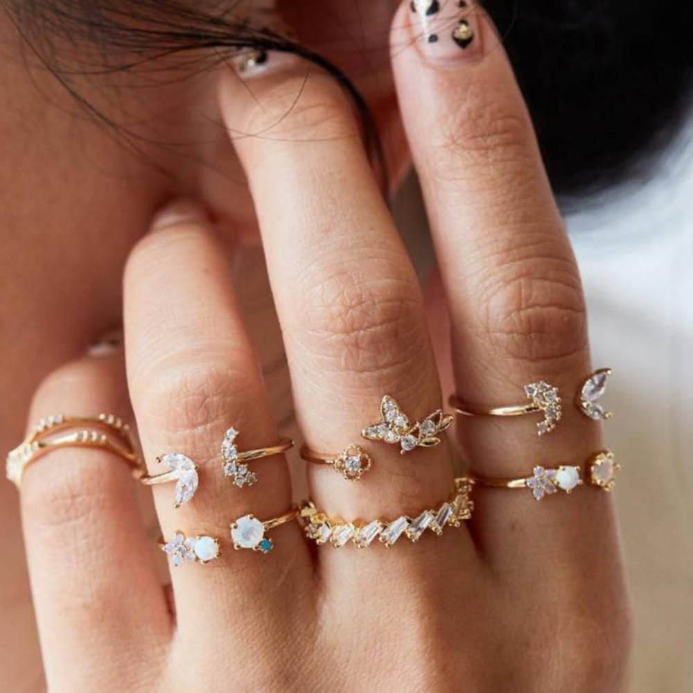 Crystals-Rings-Set Joint-Ring Jewelry Flower Party Gold Butterfly Fashion Women Wedding