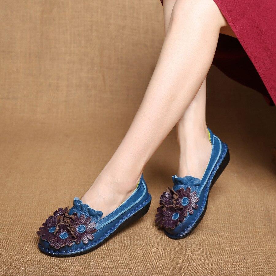 Main National Rétro En Et orange Sen noir bleu Simples Automne Chaussures Nouveau Cuir La Coin Beige Fond Style À Original De Femelle Mou Printemps w4zXIw