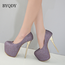 BYQDY Sexy Platform Pumps Women Ultra High Stiletto Thin Heels Shoes Round Toe Glitters Sequins Nightclub Wedding Female Shoes byqdy wholesale girls spring sexy high heels women platform shoes peep toe pumps autumn wedding shoes women crystal pumps party