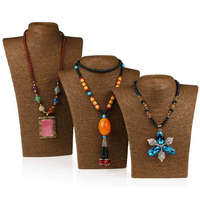 HOT-Selling Brown Color Mannequin Cord Necklace Decorate Pendant Jewelry Display Frame Stand Show For Women Wholesale Good Price