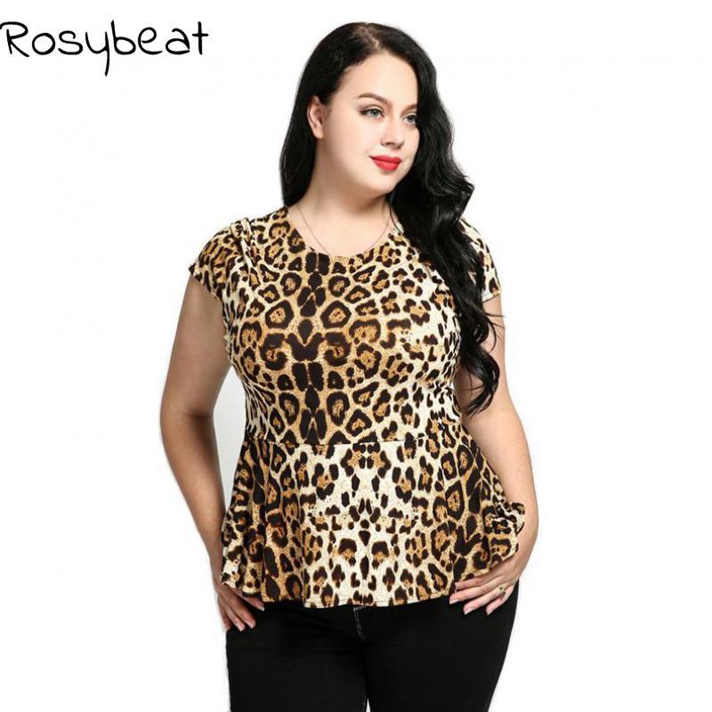 Sexy tričko Leopard T-Dámské tílko Plus velikosti Summer Tunics - Dámské oblečení