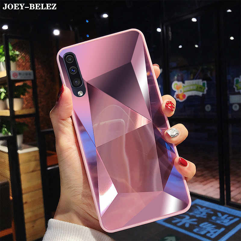 For Samsung Galaxy A50 Case Luxury Diamond Texture Mirror Glossy Back Cover For Galaxy S10 S9 S8 M30 M20 M10 A10 A30 A7 50 Cover