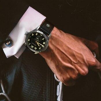 Мужские швейцарские автоматические часы AGELOCER, мужские светящиеся механические часы, мужские часы с кожаным ремешком 100 м, водонепроницаемо...