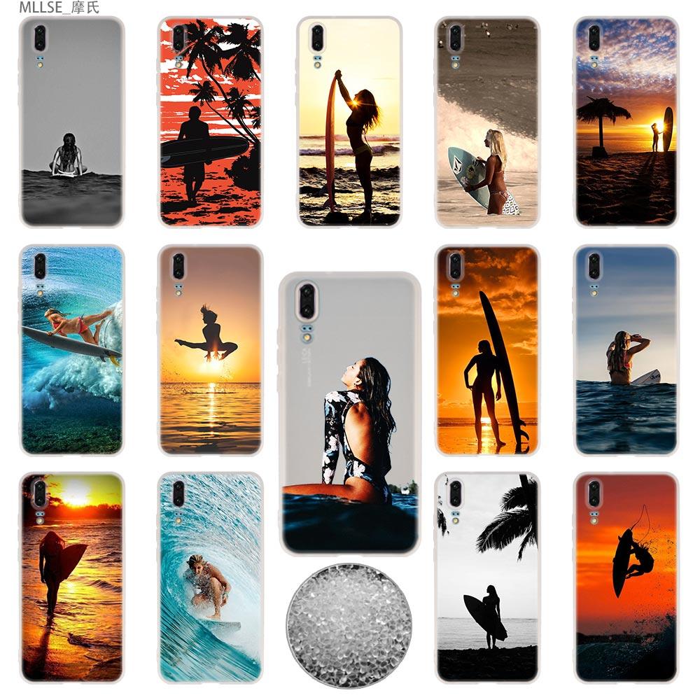 Lagere Prijs Met Surfplank Art Surf Girl Tpu Cover Telefoon Gevallen Zachte Voor Huawei P 20 Pro P10 Plus P9 P8 Lite 2017 P30 Pro Samrt 2019 Nova 3e Koop Nu